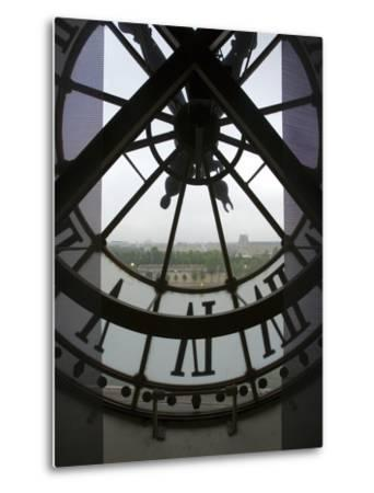 View Across Seine River Through Transparent Face of Clock in the Musee d'Orsay, Paris, France-Jim Zuckerman-Metal Print