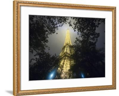 Nighttime View Looking up at Eiffel Tower, Paris, France-Jim Zuckerman-Framed Photographic Print