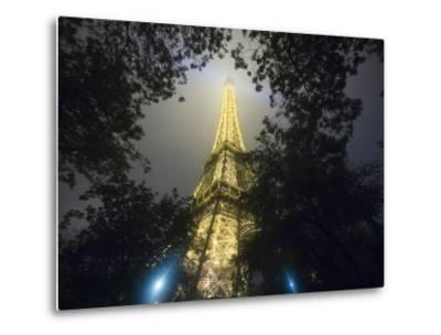 Nighttime View Looking up at Eiffel Tower, Paris, France-Jim Zuckerman-Metal Print