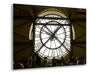 Diners Behind Famous Clocks in the Musee d'Orsay, Paris, France-Jim Zuckerman-Metal Print
