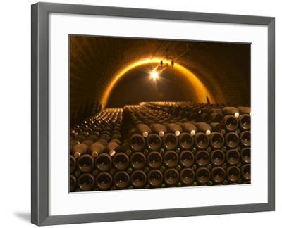 Champagne Bottles in Vaulted Cellar, Champagne Deutz, Ay, Vallee De La Marne, Ardennes, France-Per Karlsson-Framed Photographic Print