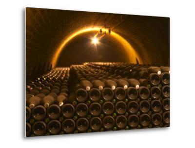 Champagne Bottles in Vaulted Cellar, Champagne Deutz, Ay, Vallee De La Marne, Ardennes, France-Per Karlsson-Metal Print