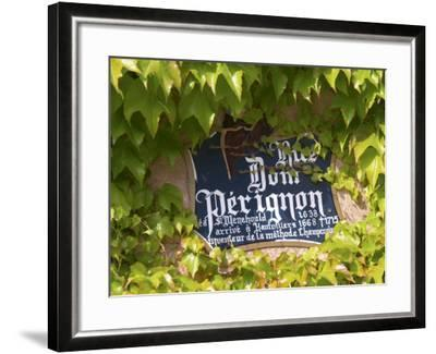 Street Sign Rue Dom Perignon, Inventor of Champagne Method, Vallee De La Marne, Ardennes, France-Per Karlsson-Framed Photographic Print