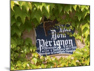 Street Sign Rue Dom Perignon, Inventor of Champagne Method, Vallee De La Marne, Ardennes, France-Per Karlsson-Mounted Photographic Print