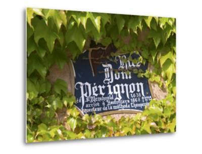 Street Sign Rue Dom Perignon, Inventor of Champagne Method, Vallee De La Marne, Ardennes, France-Per Karlsson-Metal Print