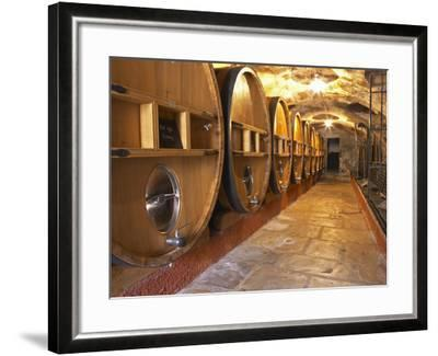 Barrels of Wine Aging in Cellar, Chateau Vannieres, La Cadiere d'Azur-Per Karlsson-Framed Photographic Print