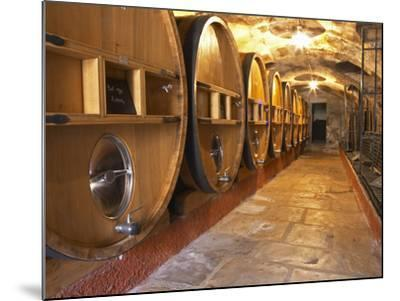 Barrels of Wine Aging in Cellar, Chateau Vannieres, La Cadiere d'Azur-Per Karlsson-Mounted Photographic Print