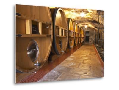 Barrels of Wine Aging in Cellar, Chateau Vannieres, La Cadiere d'Azur-Per Karlsson-Metal Print