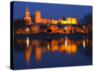 Pope's Palace in Avignon and the Rhone River at Sunset, Vaucluse, Rhone, Provence, France-Per Karlsson-Stretched Canvas Print