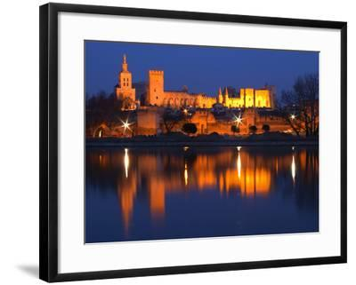 Pope's Palace in Avignon and the Rhone River at Sunset, Vaucluse, Rhone, Provence, France-Per Karlsson-Framed Photographic Print