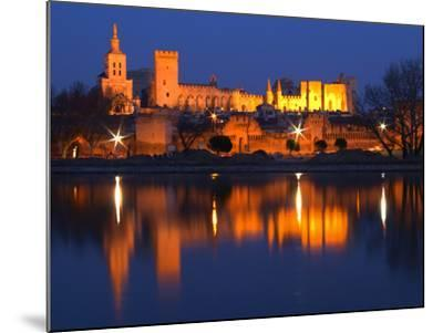 Pope's Palace in Avignon and the Rhone River at Sunset, Vaucluse, Rhone, Provence, France-Per Karlsson-Mounted Photographic Print