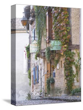 Cobblestone Street with Half Timber Stone Houses, Place De La Myrpe, Bergerac, Dordogne, France-Per Karlsson-Stretched Canvas Print
