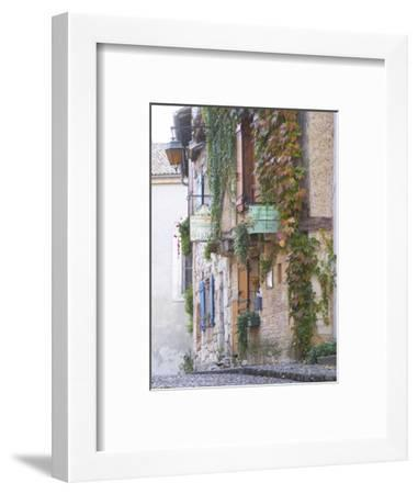Cobblestone Street with Half Timber Stone Houses, Place De La Myrpe, Bergerac, Dordogne, France-Per Karlsson-Framed Photographic Print