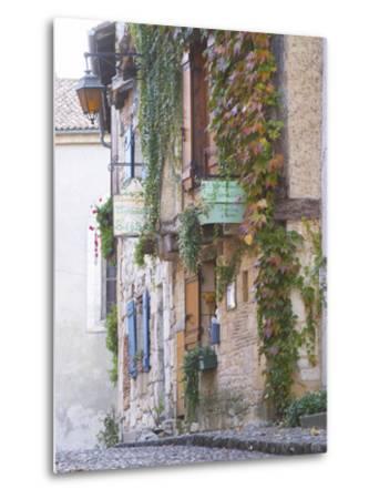 Cobblestone Street with Half Timber Stone Houses, Place De La Myrpe, Bergerac, Dordogne, France-Per Karlsson-Metal Print