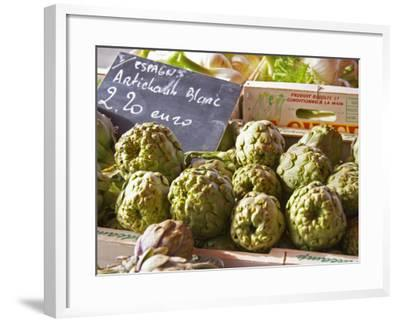 Street Market, Merchant's Stall with White Artichokes, Sanary, Var, Cote d'Azur, France-Per Karlsson-Framed Photographic Print