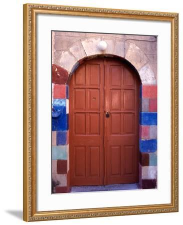 Old Brown Wooden Door, Rhodes, Dodecanese Islands, Greece-Steve Outram-Framed Photographic Print