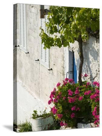 Hillside Vacation Villa Detail, Assos, Kefalonia, Ionian Islands, Greece-Walter Bibikow-Stretched Canvas Print