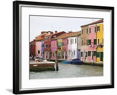 Boats and Colorful Homes in Canal, Burano, Italy-Dennis Flaherty-Framed Photographic Print