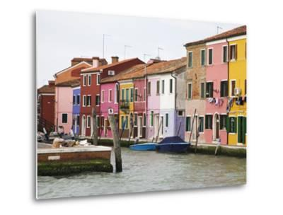 Boats and Colorful Homes in Canal, Burano, Italy-Dennis Flaherty-Metal Print