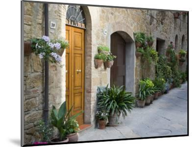 Flower Pots and Potted Plants Decorate a Narrow Street in Tuscan Village, Pienza, Italy-Dennis Flaherty-Mounted Photographic Print