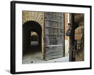 Wooden Fortified Gates and Alley of Medieval Town, Buonconvento, Italy-Dennis Flaherty-Framed Photographic Print