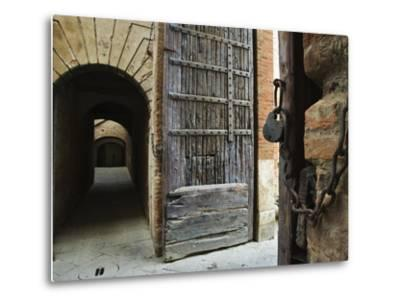 Wooden Fortified Gates and Alley of Medieval Town, Buonconvento, Italy-Dennis Flaherty-Metal Print