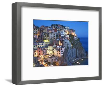 Dusk Falls on a Hillside Town Overlooking the Mediterranean Sea, Manarola, Cinque Terre, Italy-Dennis Flaherty-Framed Photographic Print