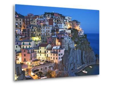 Dusk Falls on a Hillside Town Overlooking the Mediterranean Sea, Manarola, Cinque Terre, Italy-Dennis Flaherty-Metal Print