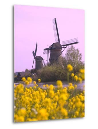 Windmills Along the Canal in Kinderdijk, Netherlands-Keren Su-Metal Print
