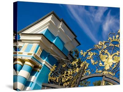 Gate Detail and Support Tower at Catherine Palace, Pushkin, Russia-Nancy & Steve Ross-Stretched Canvas Print