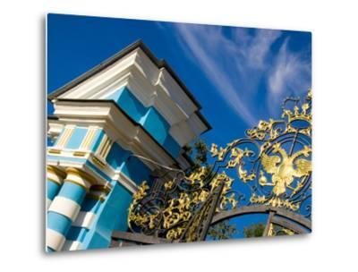 Gate Detail and Support Tower at Catherine Palace, Pushkin, Russia-Nancy & Steve Ross-Metal Print