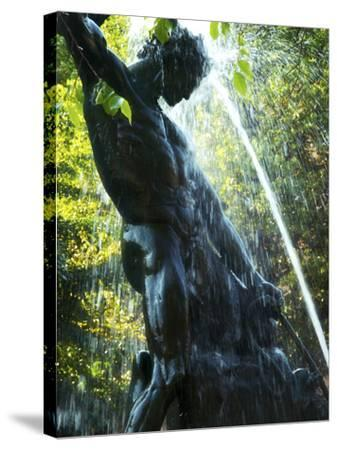 Close-up of Bronze Statue and Fountain in Mariatorget Square, Stockholm, Sweden-Nancy & Steve Ross-Stretched Canvas Print