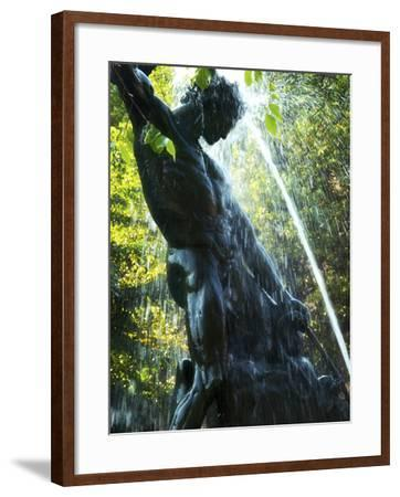 Close-up of Bronze Statue and Fountain in Mariatorget Square, Stockholm, Sweden-Nancy & Steve Ross-Framed Photographic Print