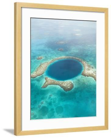 Aerial of Blue Hole, Sailboat Anchored, Lighthouse Atoll, Belize-Stuart Westmoreland-Framed Photographic Print