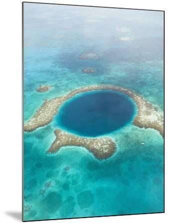 Aerial of Blue Hole, Sailboat Anchored, Lighthouse Atoll, Belize-Stuart Westmoreland-Mounted Photographic Print