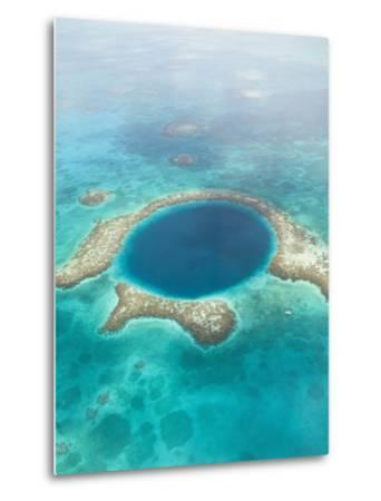 Aerial of Blue Hole, Sailboat Anchored, Lighthouse Atoll, Belize-Stuart Westmoreland-Metal Print