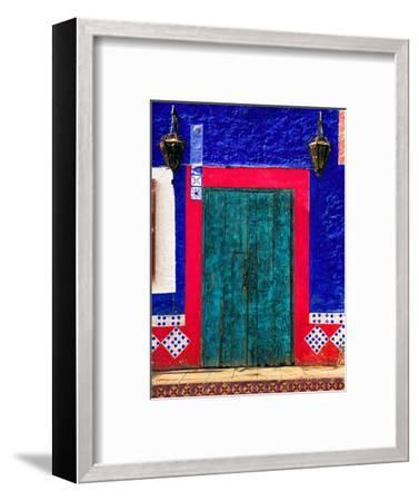 Detail of Colorful Wooden Door and Step, Cabo San Lucas, Mexico-Nancy & Steve Ross-Framed Photographic Print