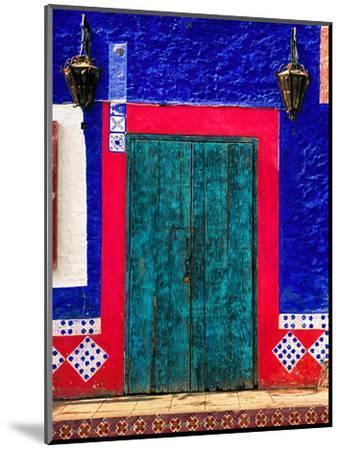 Detail of Colorful Wooden Door and Step, Cabo San Lucas, Mexico-Nancy & Steve Ross-Mounted Photographic Print