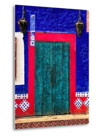 Detail of Colorful Wooden Door and Step, Cabo San Lucas, Mexico-Nancy & Steve Ross-Metal Print