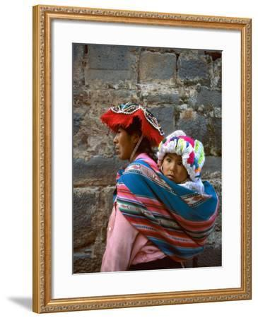 Mother Carries Her Child in Sling, Cusco, Peru-Jim Zuckerman-Framed Photographic Print
