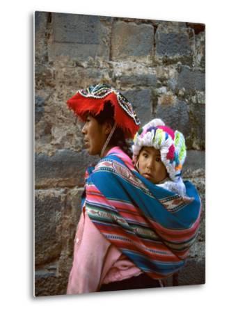 Mother Carries Her Child in Sling, Cusco, Peru-Jim Zuckerman-Metal Print
