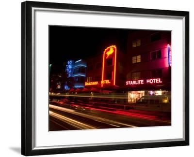 Nighttime Traffic on Ocean Drive, Art Deco Hotels, South Beach, Miami, Florida, USA-Nancy & Steve Ross-Framed Photographic Print