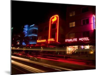 Nighttime Traffic on Ocean Drive, Art Deco Hotels, South Beach, Miami, Florida, USA-Nancy & Steve Ross-Mounted Photographic Print