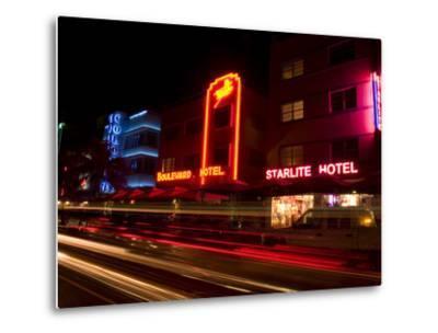 Nighttime Traffic on Ocean Drive, Art Deco Hotels, South Beach, Miami, Florida, USA-Nancy & Steve Ross-Metal Print