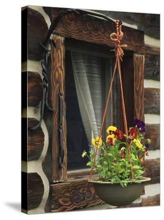 Flower Basket Outside Window of Log Cabin, Fort Boonesborough, Kentucky, USA-Dennis Flaherty-Stretched Canvas Print
