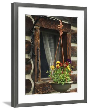 Flower Basket Outside Window of Log Cabin, Fort Boonesborough, Kentucky, USA-Dennis Flaherty-Framed Photographic Print