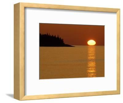 Spring Sunrise Silhouettes Edwards Island and Reflects Light on Lake Superior-Mark Carlson-Framed Photographic Print