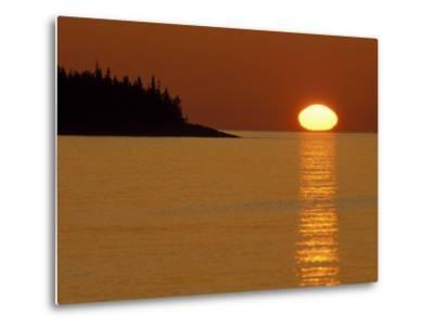 Spring Sunrise Silhouettes Edwards Island and Reflects Light on Lake Superior-Mark Carlson-Metal Print