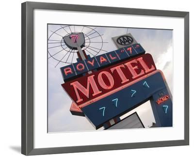 Royal 7 Motel Sign, Bozeman, Montana, USA-Nancy & Steve Ross-Framed Photographic Print