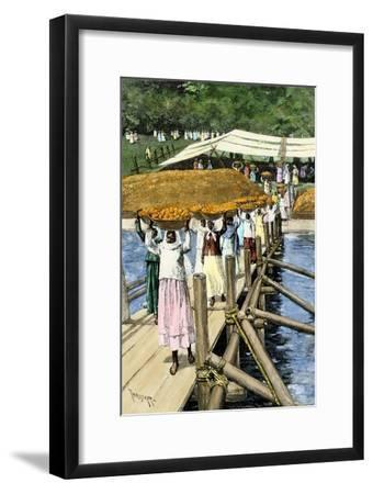 Women Loading Oranges on a Ship at San Antonio, Paraguay, c.1890--Framed Giclee Print